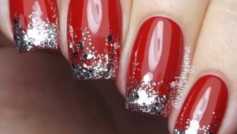 Unhas Vermelhas Com Detalhes Prata, Um Arraso De Unhas!