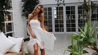 Vestido Curto De Crochê Na Cor Branca, Vale A Pena Conferir!