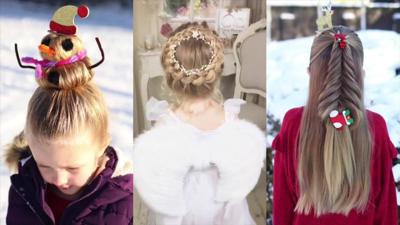Vídeo com 3 tutoriais de penteados natalinos para meninas