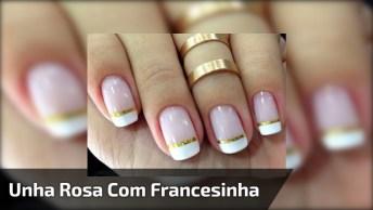 Vídeo Com Linda Inspiração De Unhas Rosa Claro Com Francesinha Branca E Dourada!