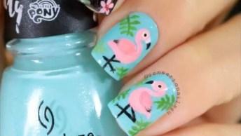 Vídeo Com Lindas Unhas Decoradas Com Flamingos Fofos, Confira!