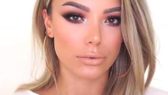 Vídeo Com Maquiagem Linda Com Sombra Com Brilho, Simplesmente Perfeitas!