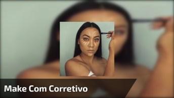 Vídeo Com Maquiagem Maravilhosa, Com Pele Com Uso De Corretivo Colorido!