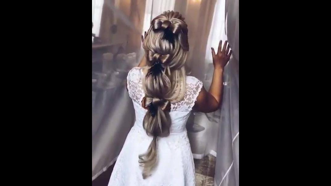 Vídeo com penteado em cabelo comprido para noiva