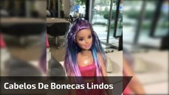 Vídeo Com Transformação De Cabelos De Boneca Nas Cores Rosa, Lilás E Azul!