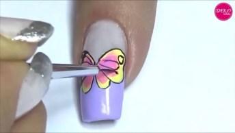 Vídeo Com Tutorial De Desenhos De Borboletas Nas Unhas, Olha Só Que Lindas!