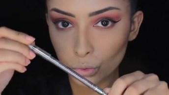 Vídeo Com Tutorial De Maquiagem Com Sombra Marrom, Pele Contornada!