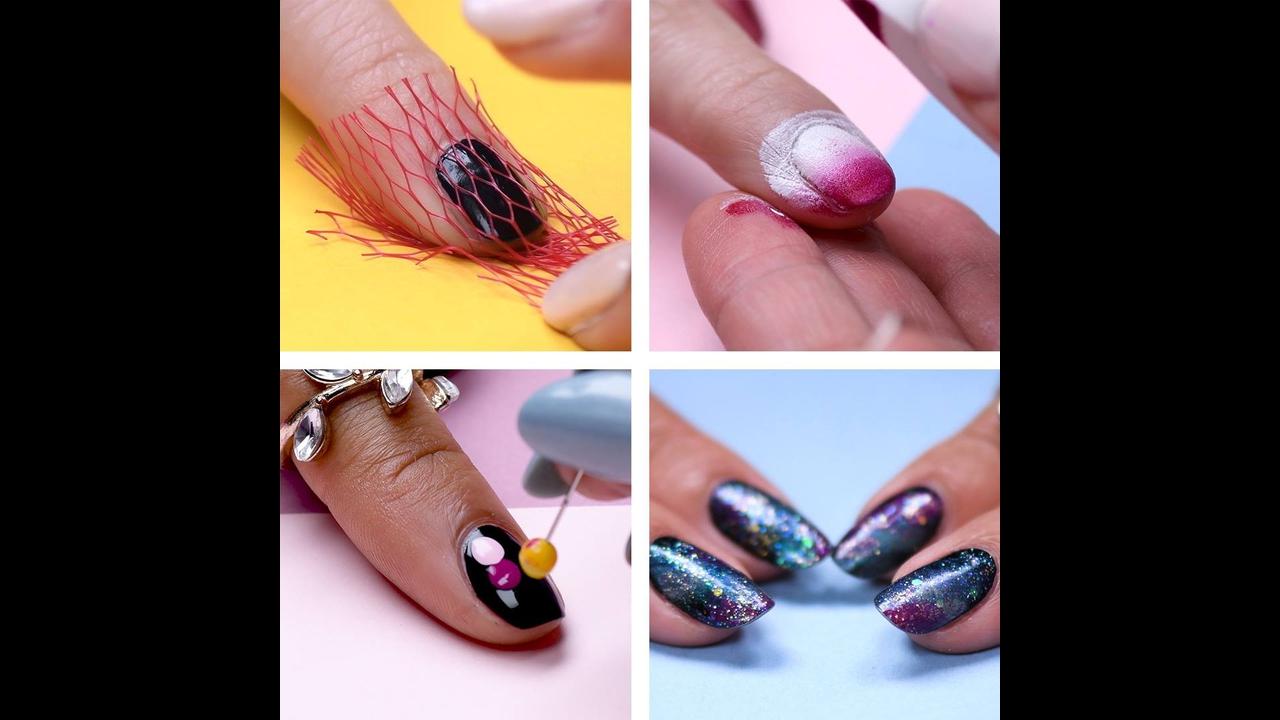 Vídeo com vários tutoriais de unhas decoradas super fáceis de fazer