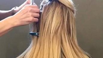 Vídeo Em Câmera Rápida Mostrando Colocação De Mega Hair, Confira!