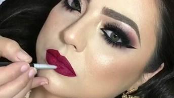 Vídeo Mostrando Inspiração De Maquiagem Para Formatura Com Batom Vermelho!