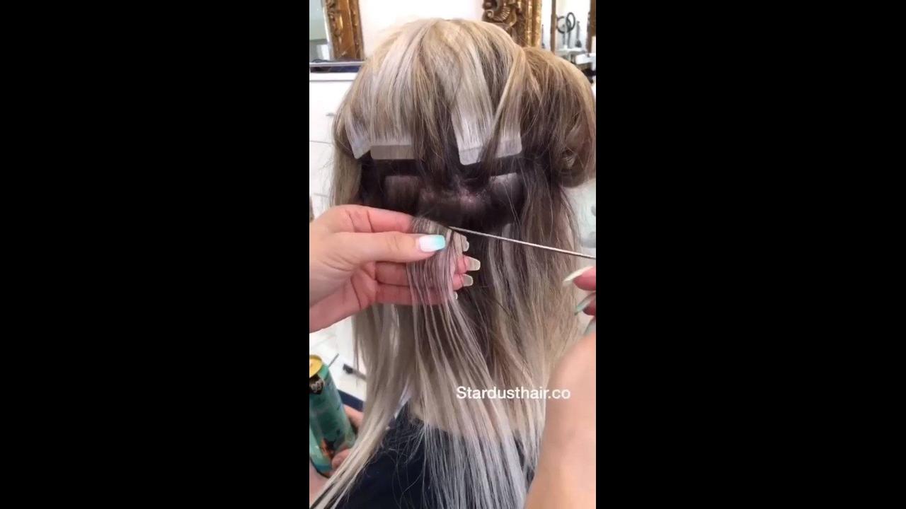 Vídeo mostrando manutenção de mega hair de fita de queratina