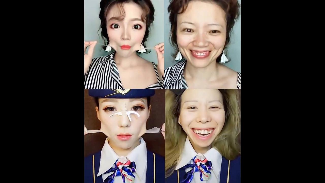 Vídeo mostrando mulheres retirando a maquiagem
