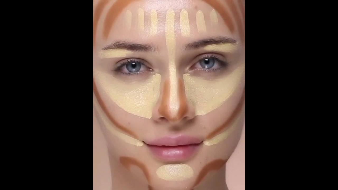 Vídeo rápido com tutorial de contorno no rosto