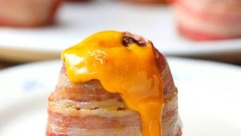 Batata Recheada Com Carne E Cheddar E Com Bacon Por Fora, Uma Delicia!