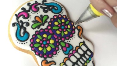 Biscoito Decorado Com Caveira Mexicana, Diferente E Colorido!