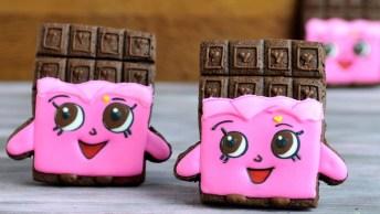 Biscoito Decorado Com Desenho Rosa, Perfeito Para Festa De Menina!