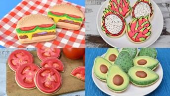Biscoitos Decorados Com Tema De Comida, Tem Lanche, Abacate E Mais!