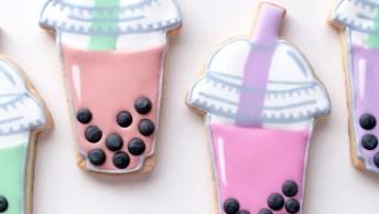 Biscoitos Decorados Em Formatos De Copinhos De Milk Shake!
