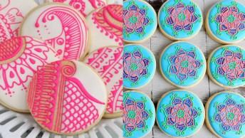 Biscoitos Redondos Decorados Com Tema De Henna, Veja Que Incrível!
