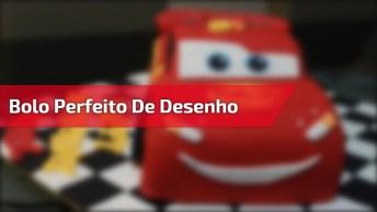 Bolo De Aniversário Do Desenho Carros, Com Bandeira Da Chegada Por Dentro!