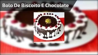 Bolo De Biscoito E Chocolate, Parece Que Fica Muito Bom, Confira!
