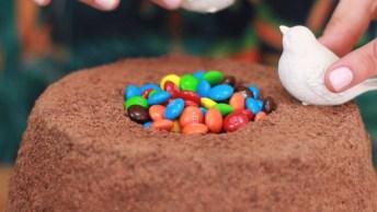 Bolo De Chocolate Com Vulcão De Confete, Perfeito Para Páscoa!