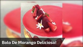 Bolo De Morango Maravilhoso - Um Lindo Trabalho De Confeitaria!