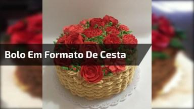 Bolo Decorado Com Formato De Cesta De Flores, Um Lindo Trabalho!