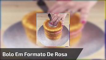 Bolo Em Formado De Rosa, Veja Que Resultado Maravilhoso!