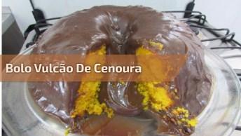 Bolo Vulcão De Cenoura Com Muito Chocolate, Uma Maravilha De Bolo!