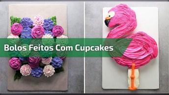 Bolos Feitos Com Cupcakes, Em Formato De Flamingo, Copo De Cerveja E Flores!