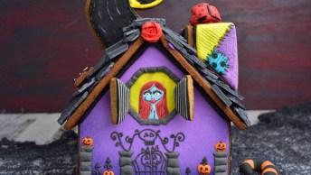 Casinha Feita De Biscoitos Decorados Com Tema De Halloween, Muito Legal!