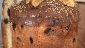 Chocotone Trufado De Creme De Avelã E Doce De Leite, Veja Que Maravilha!