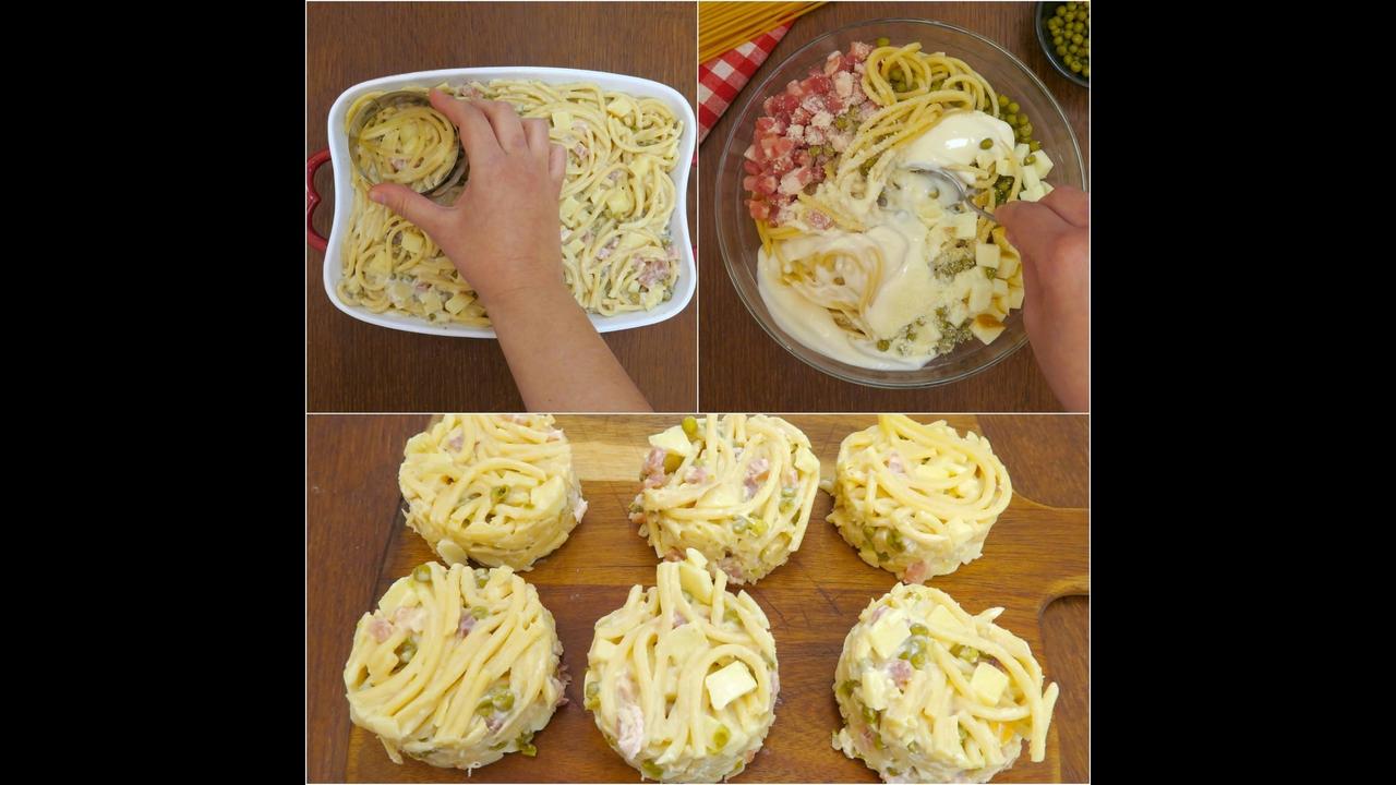 Círculos de macarrão assado com bacon e queijo