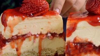 Como Fazer Cheesecake De Chocolate Branco E Morangos, Irresistível. . .