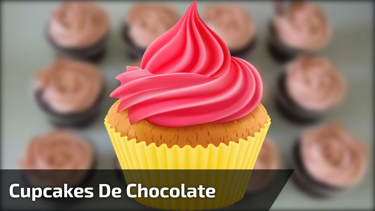Cupcakes de chocolate confeitados com confeito em formato de rosas na cor bege!!