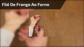 Filé De Frango Ao Forno Com Queijo E Presunto, Uma Receita Maravilhosa!