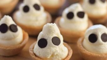 Halooween - Mini Tortinhas De Cheesecake Em Formatos De Fantasmas!