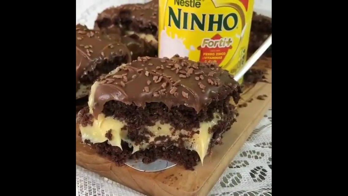 Imagens de um bolo trufado de Ninho com Maracujá