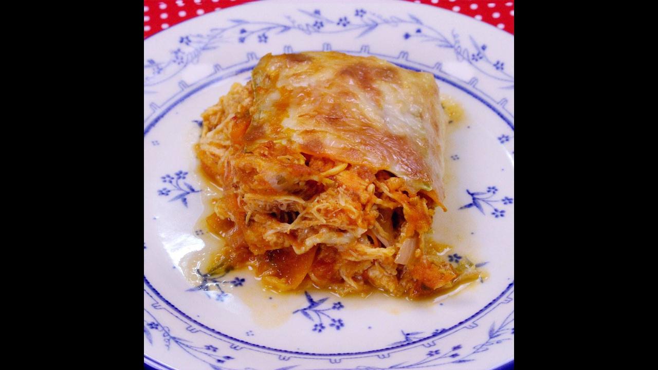 Lasanha de legumes com frango e queijo