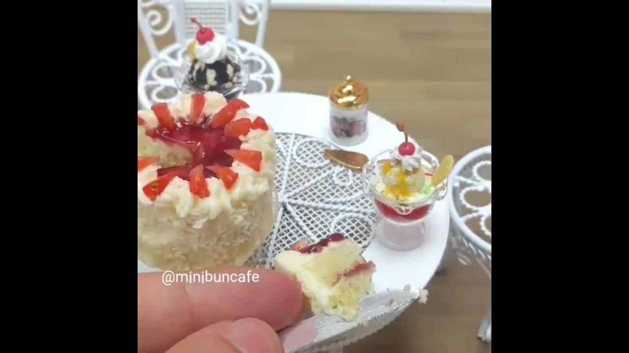 Modo de preparo de uma miniatura de bolo