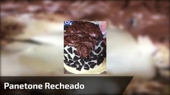 Panetone Recheado Com Mousse De Leite Em Pó, Coberto Com Chocolate Branco. . .