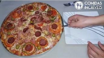 Pizza Caseira Com Massa De Profissional, Uma Delicia, Confira!