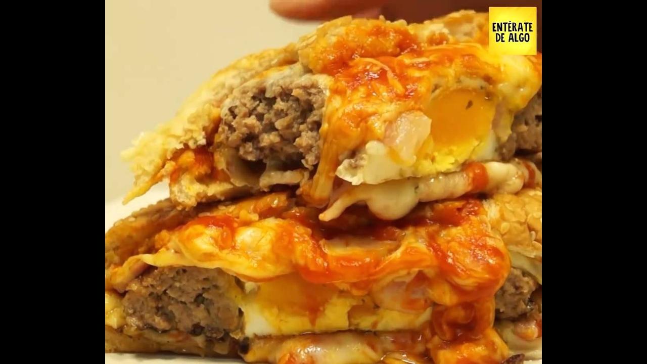 Pizza no pão de hambúrguer