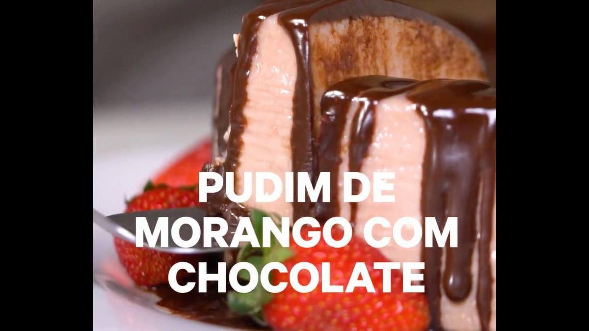 Pudim de morango com chocolate, que receita é essa