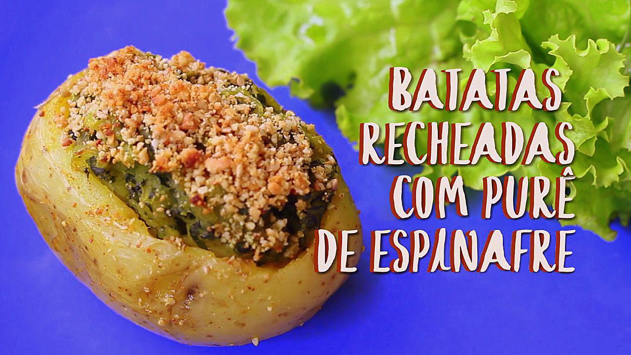 Receita de batatas recheadas com purê de espinafre