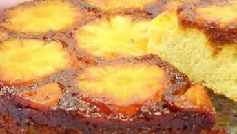 Receita De Bolo De Abacaxi Caramelizado, Super Fácil De Fazer, Confira!