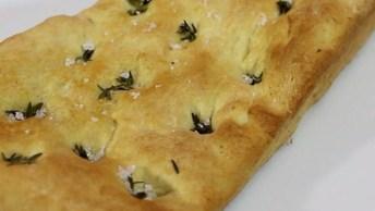Receita De Focaccia, Uma Espécie De Pão Delicioso E Fácil De Fazer!