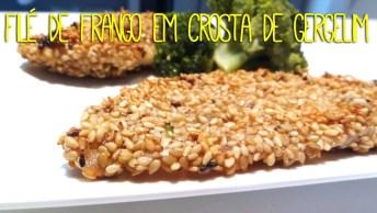 Receita De Frango Em Crosta De Gergelim, Super Saudável E Gostoso!