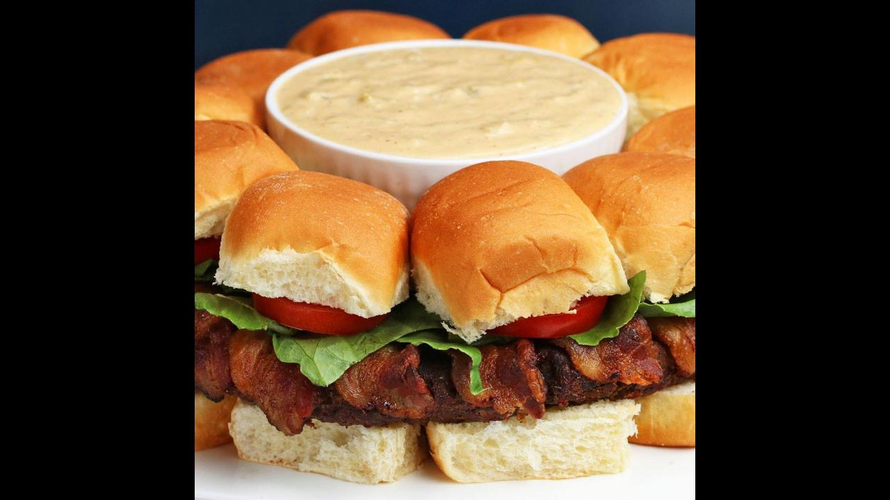 Receita de sanduichinhos de Hambúrguer com Bacon